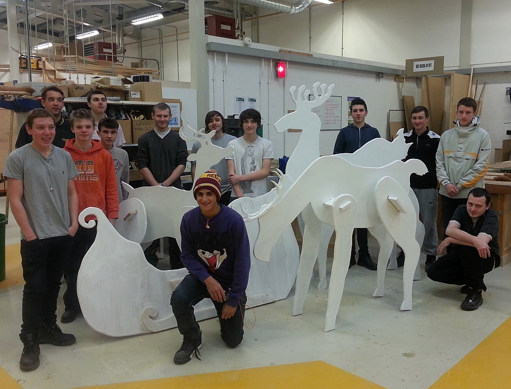 Carpentry students with the reindeer and sleigh