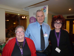 Elizabeth and Nigel Timbrell, and Heather Norman-Soderlind, Rowcroft Community Fundraising Manager.